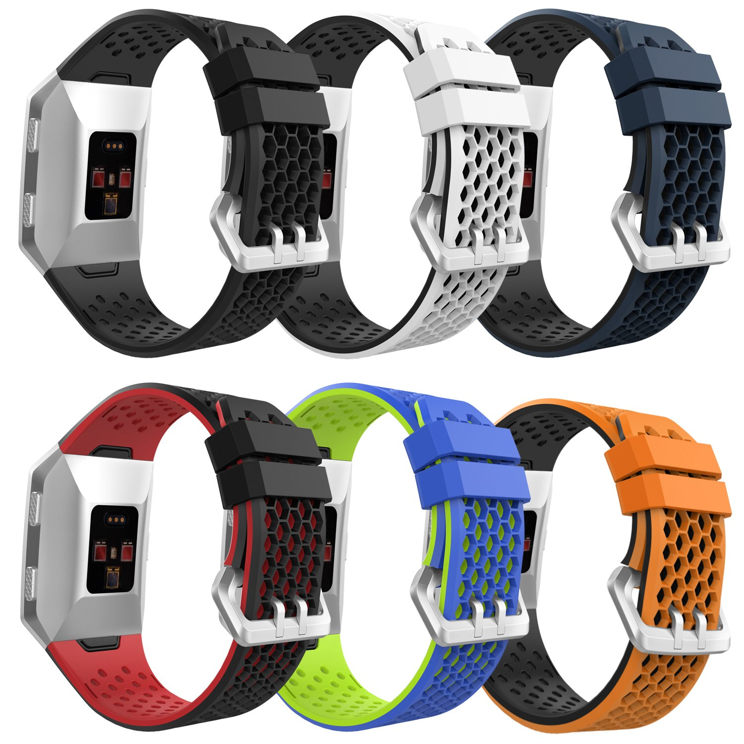 MoKo Fitbit Ionic Watch Band, [6 Pack] Colorful Soft Silicone Perforated Adjustable Strap for Fitbit Ionic Smart Watch, Large Size 5.12''-9.05'' (130mm-230mm), 6PCS (Multi-Colors) by MoKo