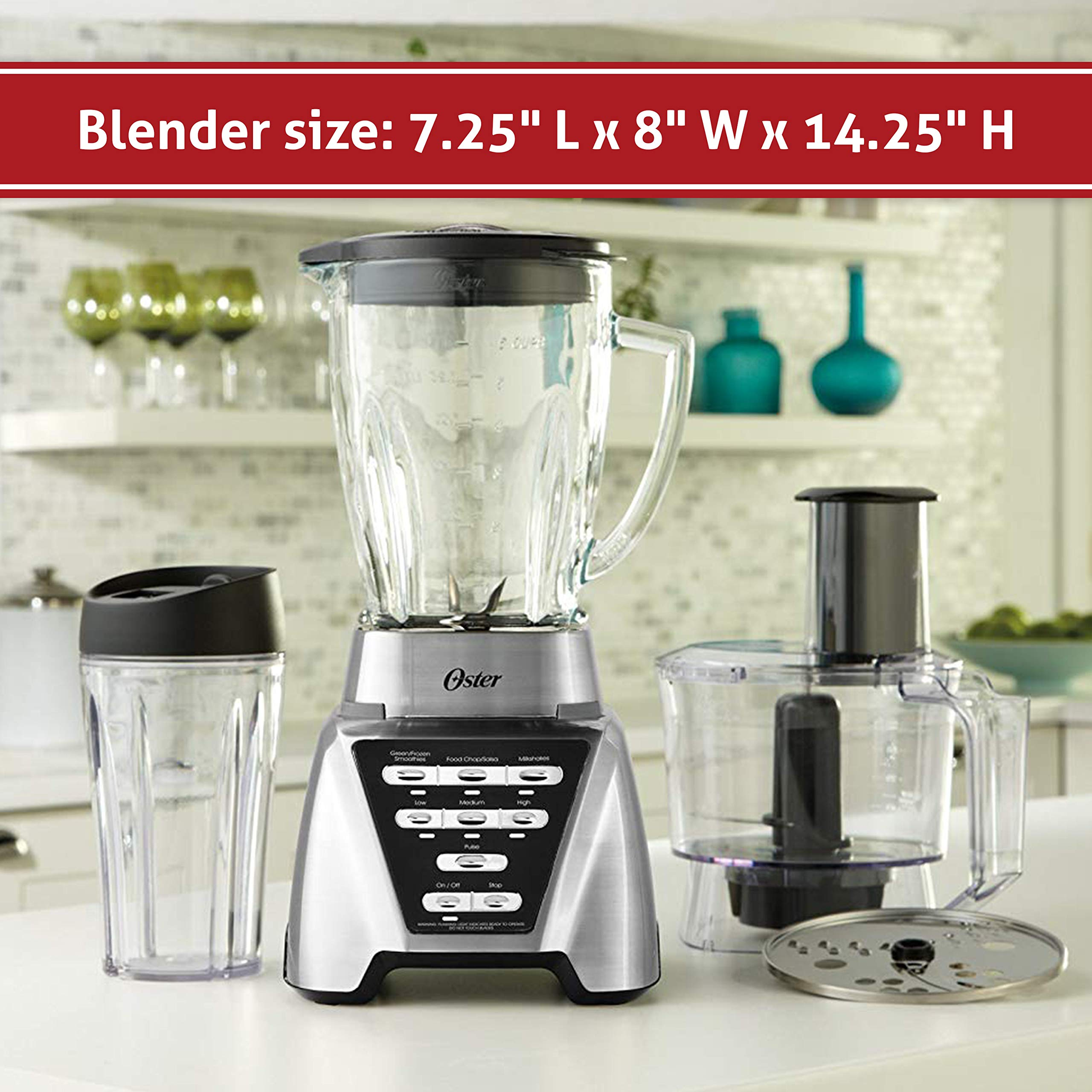 Oster Pro 1200 Blender with Glass Jar plus Smoothie Cup & Food Processor Attachment, Brushed Nickel by Oster (Image #6)