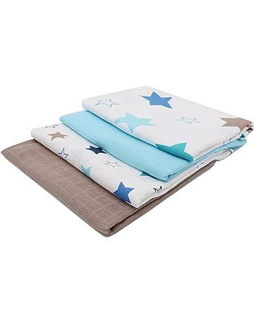 Zollner 4 muselinas de algodón para bebé, 120x120 cm, con estrellas
