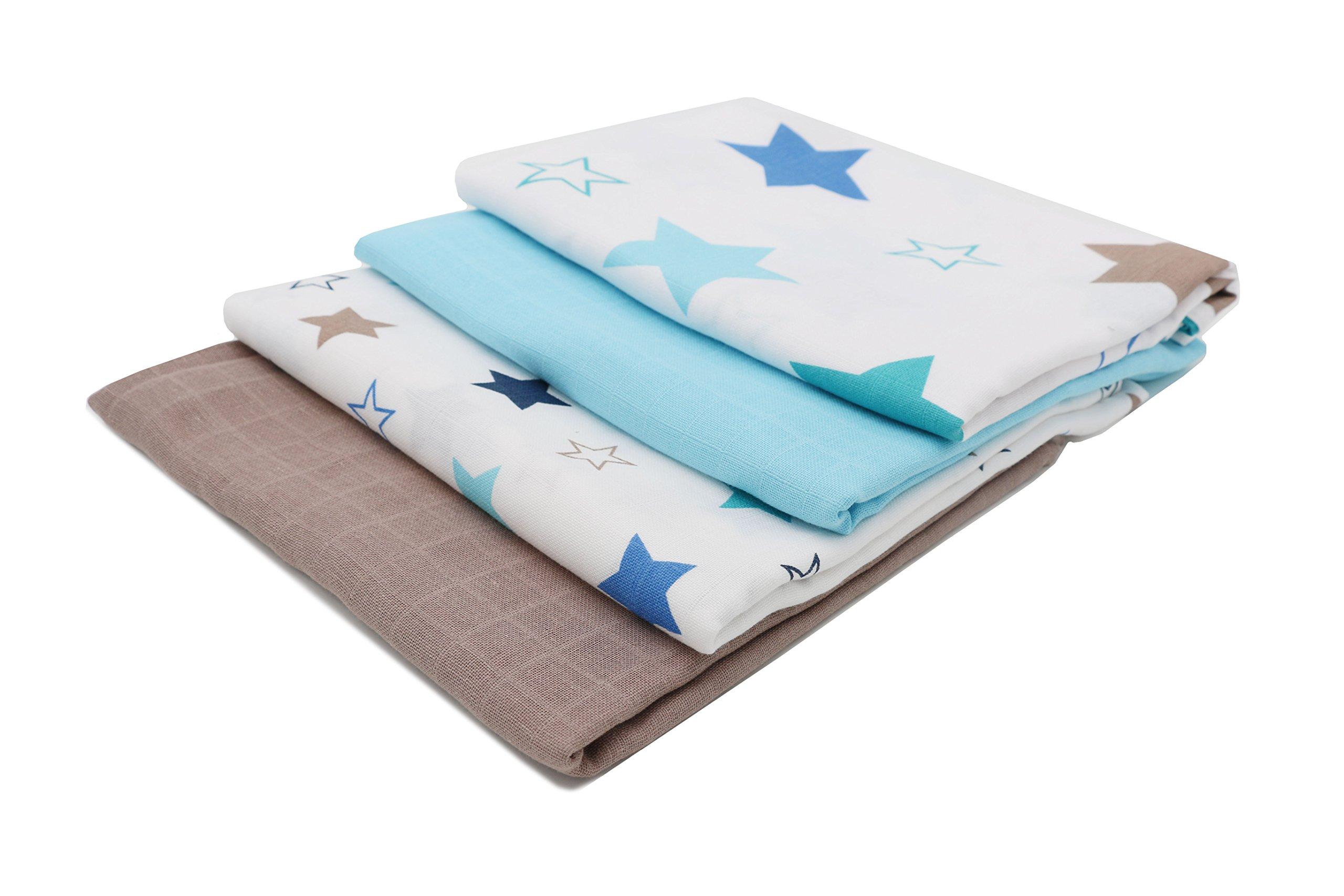 Zollner 4 muselinas de algodón para bebé, 120x120 cm, con estampado de estrellas y