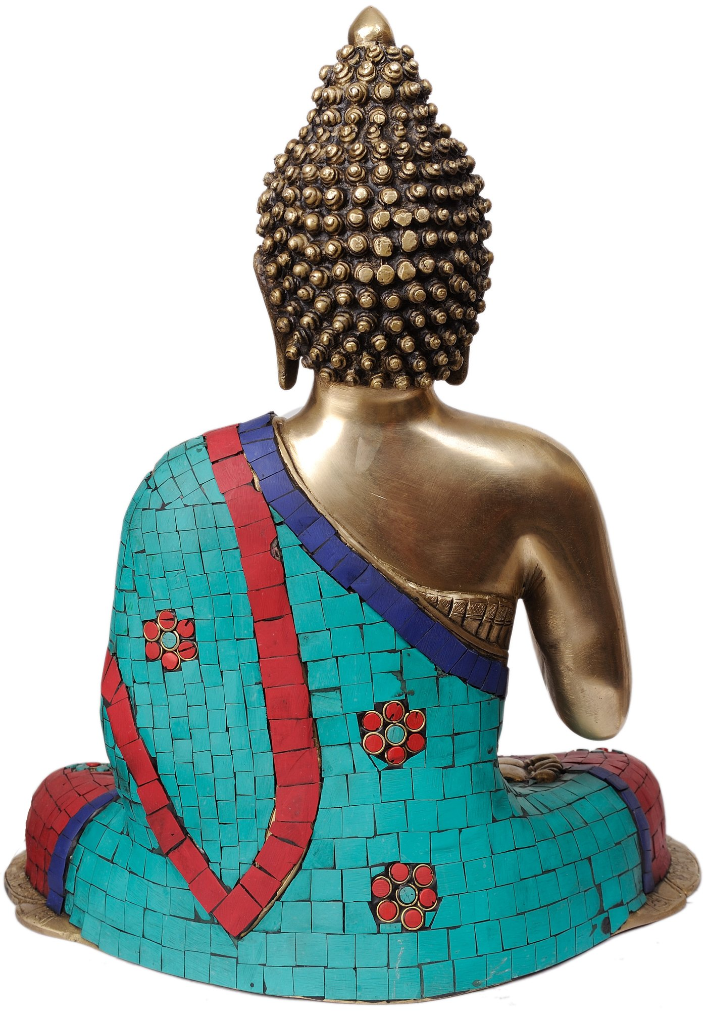 Preaching Buddha (with Fine Inlay Work) - Brass Statue by Exotic India (Image #2)