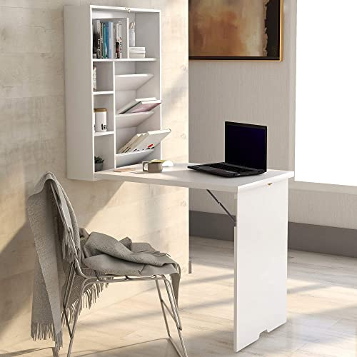 Convertible Wall Mounted Table, Folding Computer Laptop Desk, Home Office Wood Convertible Writing Desk with Bookcase Storage White