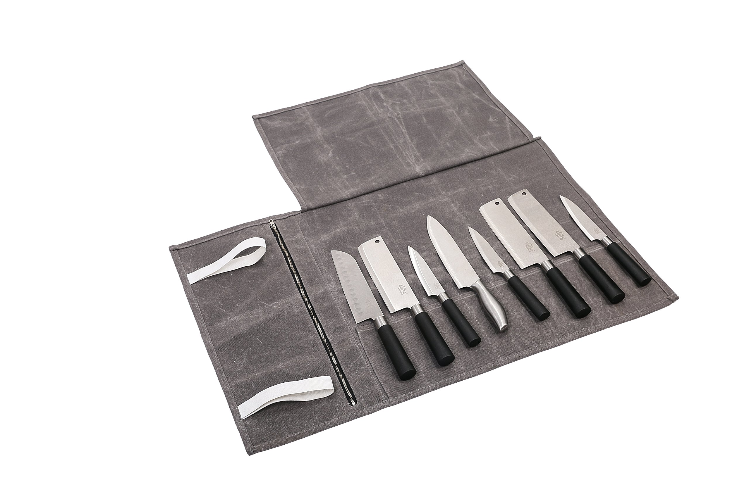 Hersent Waterproof Waxed Canvas Chef's Knife Roll Up Storage Bag with 8 Slots Portable Travel Chef Knife Case Carrier Stores Up 8 Knives Plus a Zipper Pocket for Kitchen Utensils HGJ17-C-US by Hersent (Image #3)