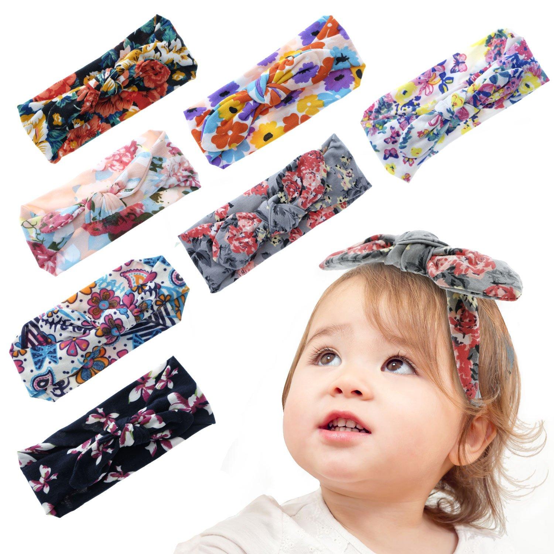 Amazon.com  Lamamamas 7Pcs (0-6 years) Baby Girl Headbands Stretchy Knot 37668cfe9fc