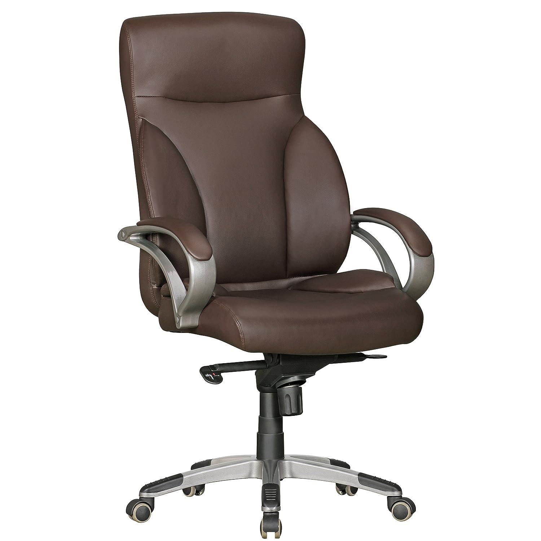 AMSTYLE Bürostuhl BERLIN XXL Kunst-Leder braun 150 kg Belastbarkeit   Chefsessel mit Kopfstütze & Multiblockmechanik   Design Drehstuhl verstellbar   Schreibtisch-Stuhl hohe Rückenlehne
