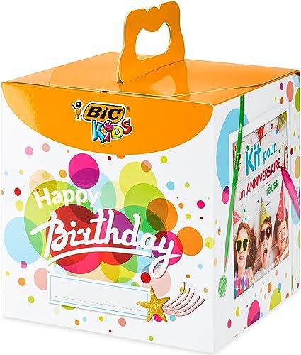 BIC Kids Caja de colores de Cumpleaños - 12 Lápices de colores /12 rotuladores de colores /12 Ceras Blandas /6 Tubos de Pegamento con Purpurina /30 Adhesivos y 24 Tarjetas para Colorear: Amazon.es: Oficina y papelería