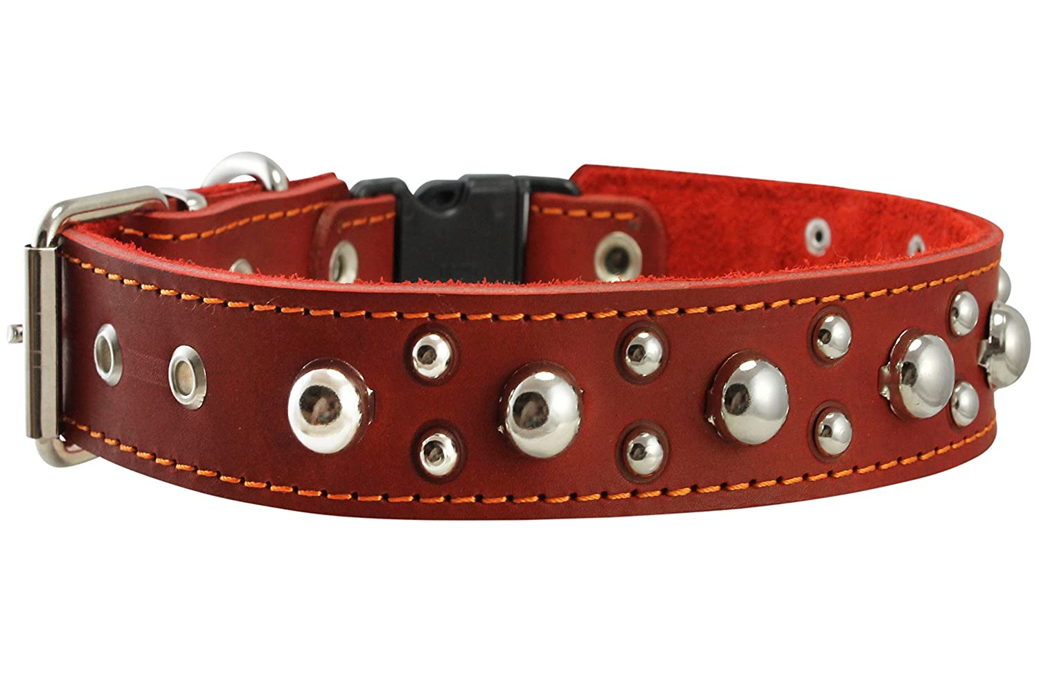 Red Genuine Leather Studded Dog Collar, Soft Suede Padded1.5 Wide. Fits 17 -20  Neck