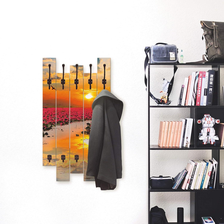 Artland Wandgarderobe Holz Design mit 8 Haken Garderobe Paneel mit Motiv 63x114 cm Landschaft Natur Blumen Sonne Lotusblume Himmel See T9IA