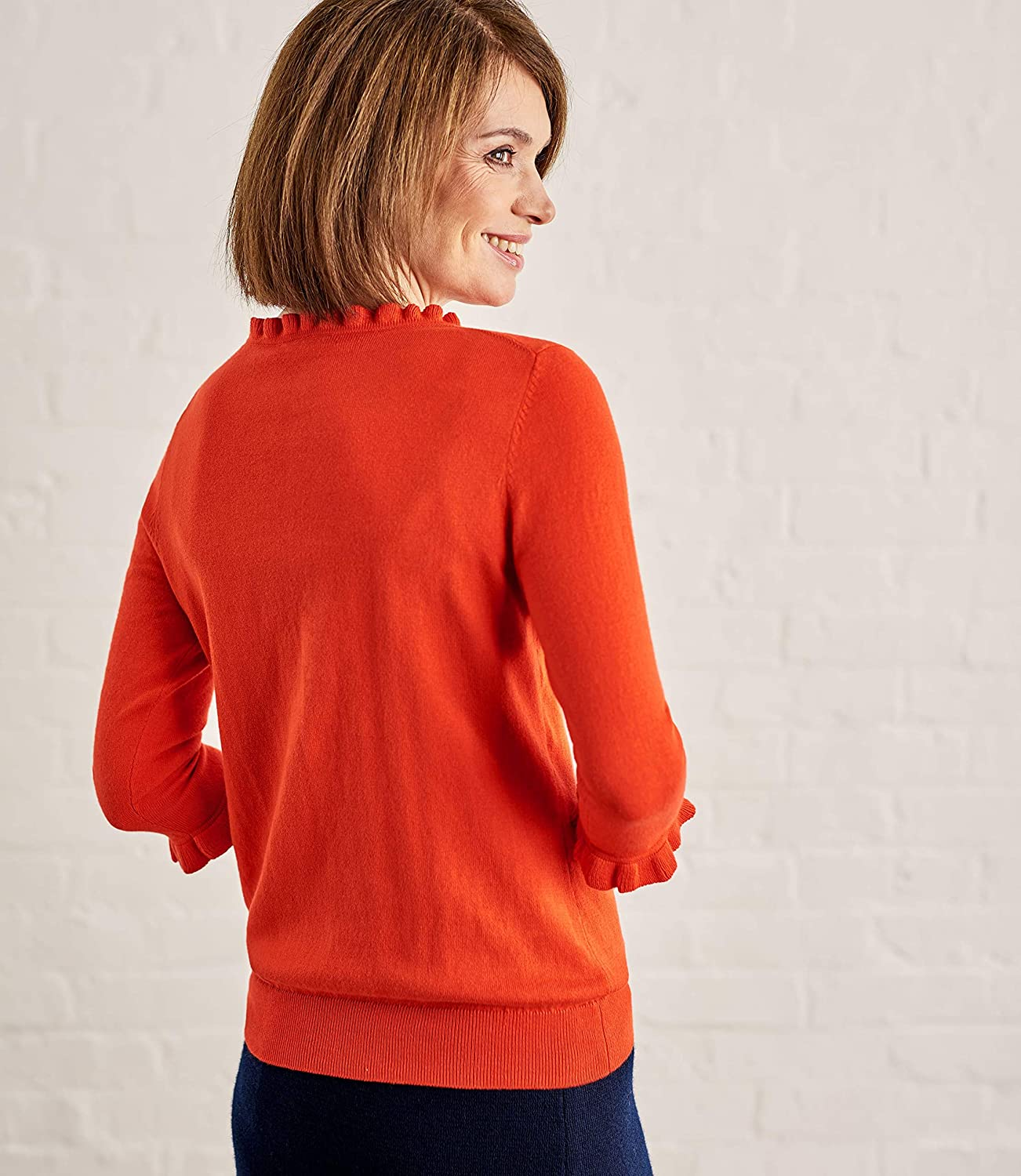 Wool Overs Womens Frill Neck Sweater Bright Coral S