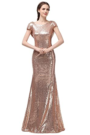 Ever Love Womens Mermaid Rose Gold Long Bridesmaid Dress for Wedding Gold 14