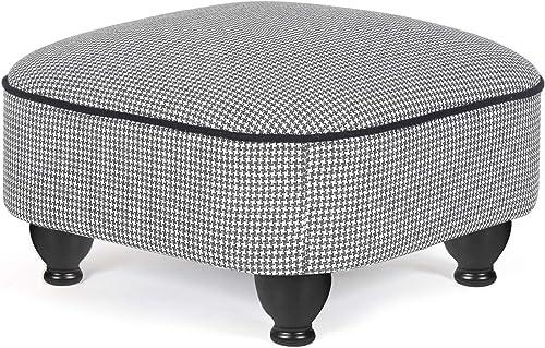 Furnistar 18.1″ Ottoman Round Foot Rest Stool Swallow Gird Black White - a good cheap ottoman chair