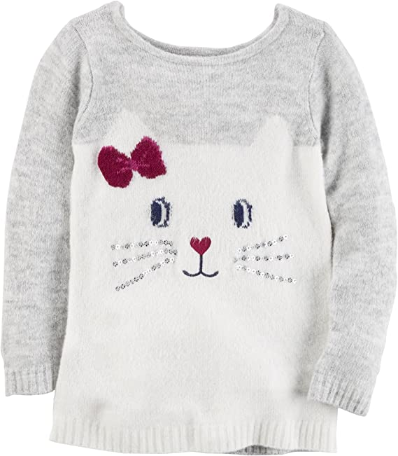 6 Months Carters Girls Kitty Face Sweater Grey//White