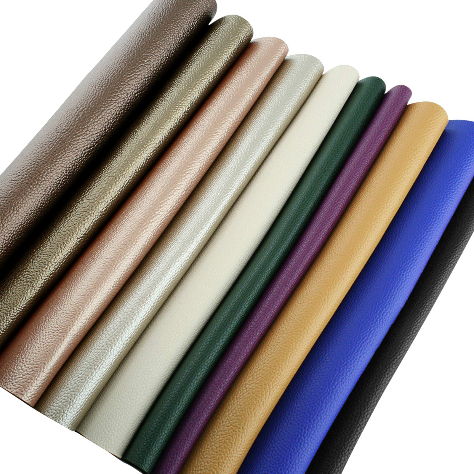 Faux Leather Sheets for Leathercraft Accesories with Cotton Fabric Back- 8'' x 13''(20 x 34 cm) Pack of 10 Faux Leather for Earring Making, Ribbon Bowls Crafts Making- 10 Colours of Faux Leather Sheets by MissLina Faux Leather Accesories (Image #9)