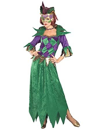 Forum Mardi Gras Madness Gown Green Gold Purple Adult Costume