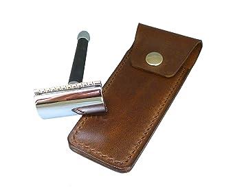 Funda de cuero artesanal para maquinilla de afeitar LARGA ...