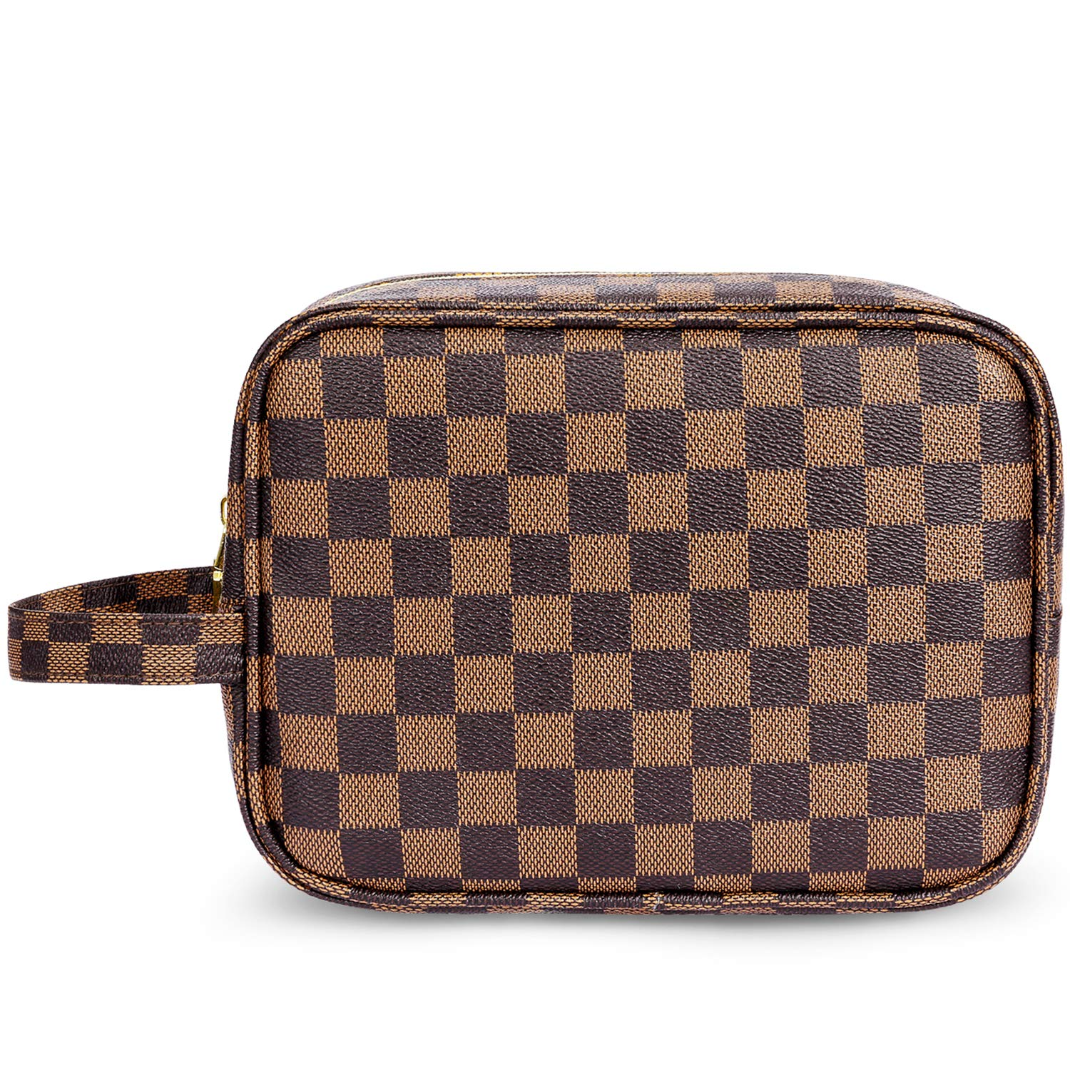 ADCOOG Makeup Bag Portable Cosmetic Bags Retro Cosmetic Pouch Toiletry Travel Organizer for Women, Cosmetics, Make Up Tools, Toiletries,Brown