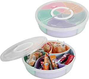 Cedilis 2 Pack Nut and Candy Serving Container with Lid, 5 Colorful Compartment Plastic Food Storage, Portable Appetizer Tray for Lunch, Snack, Parties, Divided Camping Snack Plate & Dish Platter