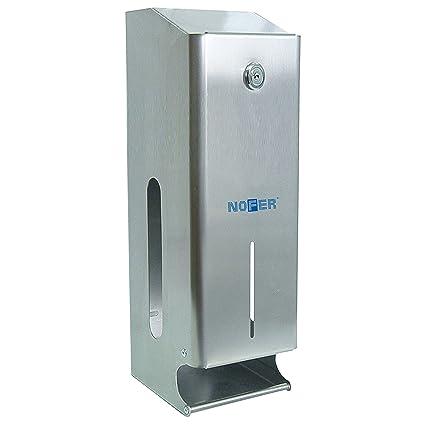 Nofer 05102.b Nova – Dispensador Triple de Papel higiénico Inoxidable Brillante Plata 36,
