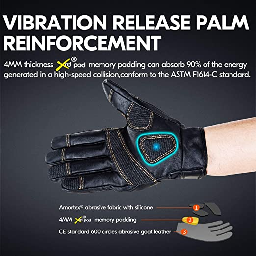 Paintball Tactical Airsoft Vgo.. Camping Hiking ATV Riding Goat Leather Premium Full Finger Motorcycle Gloves Ideal for Cycling Motorcycle 1Pair,Brown,GA9638HL