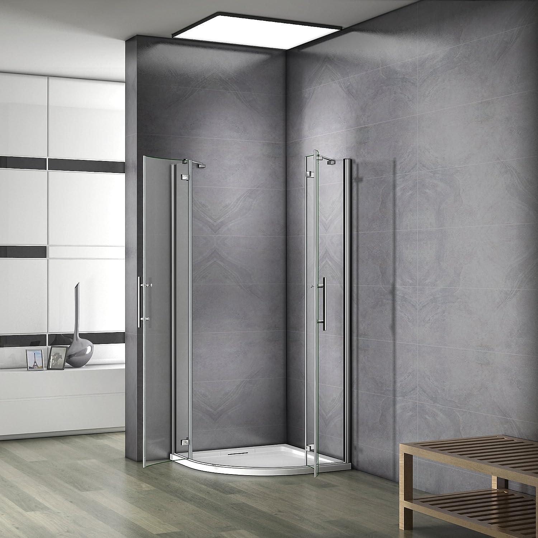 Mampara de ducha de bisagra acceso de ángulo 1/4rond con mampara ...