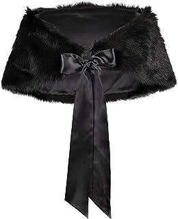 Flora Faux fur Satin lined Bridal Stole/Wedding Wrap Cover up/Bridesmaid Cape,
