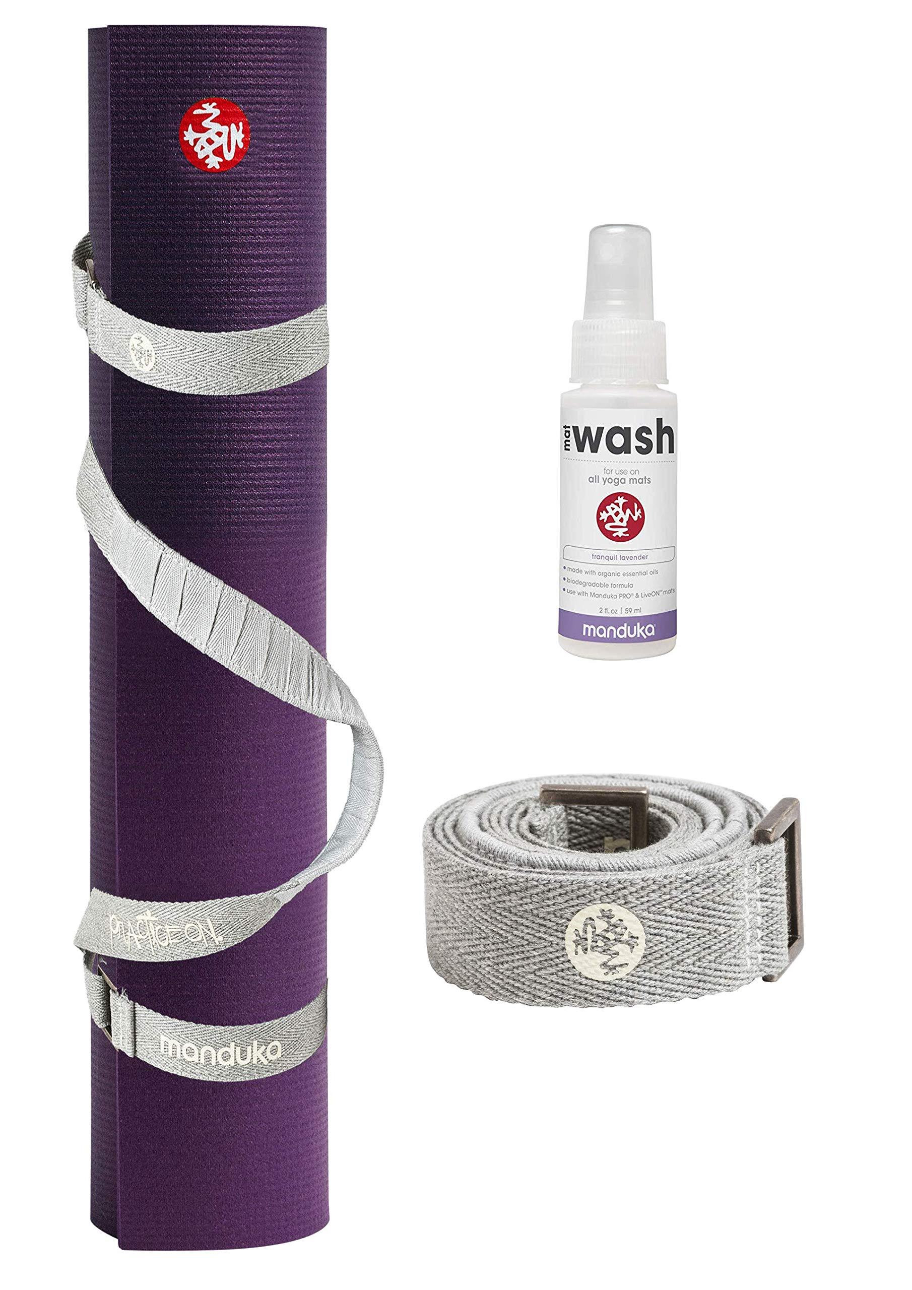 PlayBetter Manduka PRO Yoga and Pilates Mat Bundle | Includes Manduka Yoga Mat Strap & Lavender Mat Wash (Black Magic, Standard (71''))