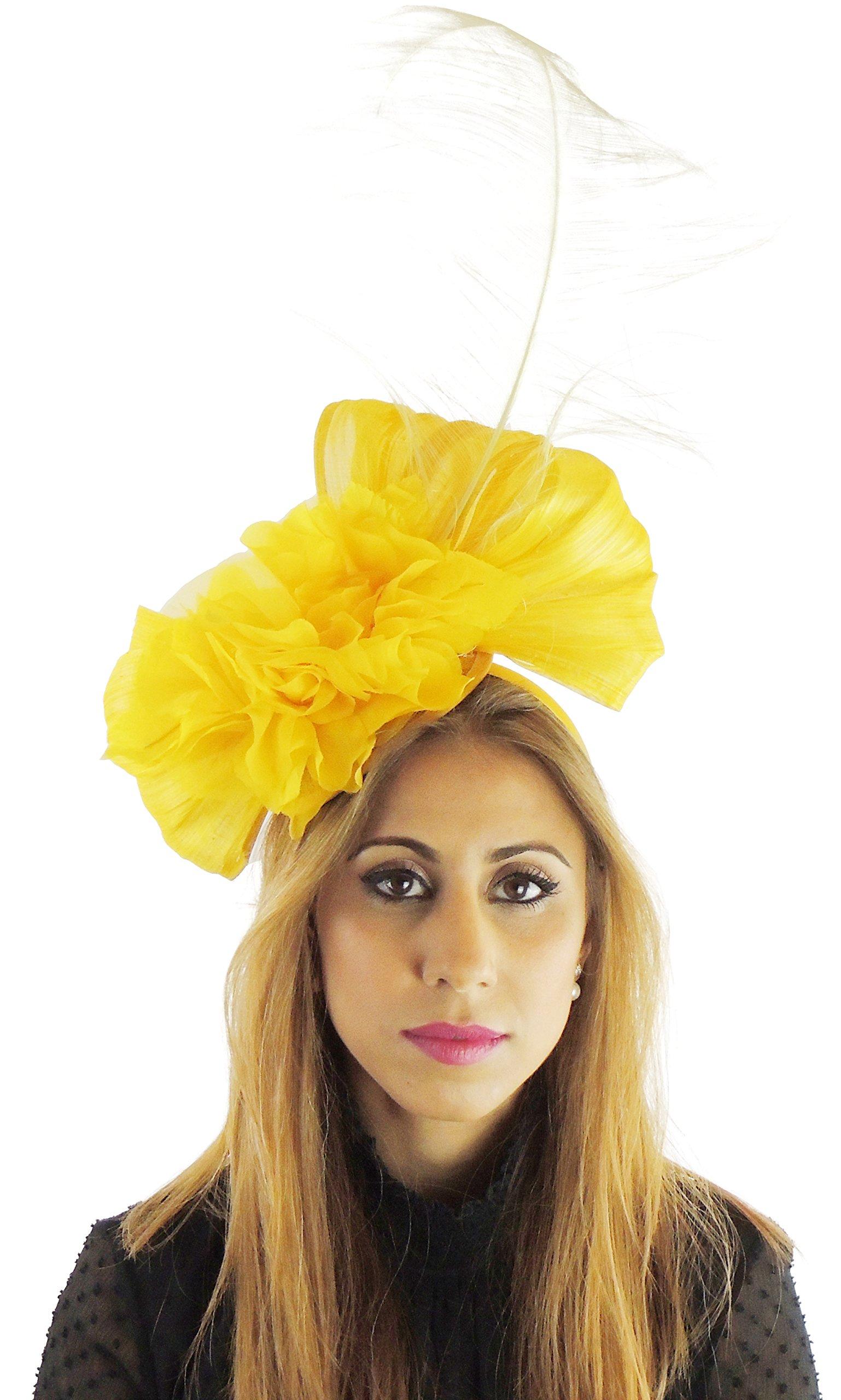 Hats By Cressida Silk Sinamay & Silk Flower Elegant Ladies Ascot Wedding Fascinator Yellow by Hats By Cressida