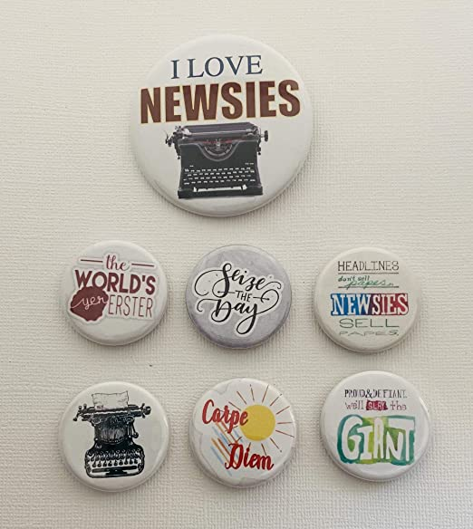 7 piece Disneys Newsies Magnets for purse or clothes 1.25 Inch Locker Magnets Girls birthday buttons for Back to School Buttons and a 2.25 inch Backpack Pin