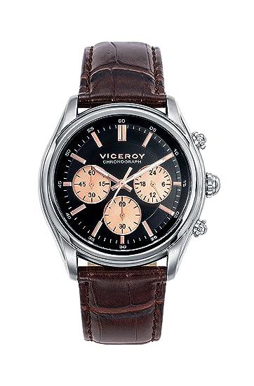 Reloj Viceroy de Hombre. Correa de piel de color marron. Esfera redonda de color negro.: Amazon.es: Relojes