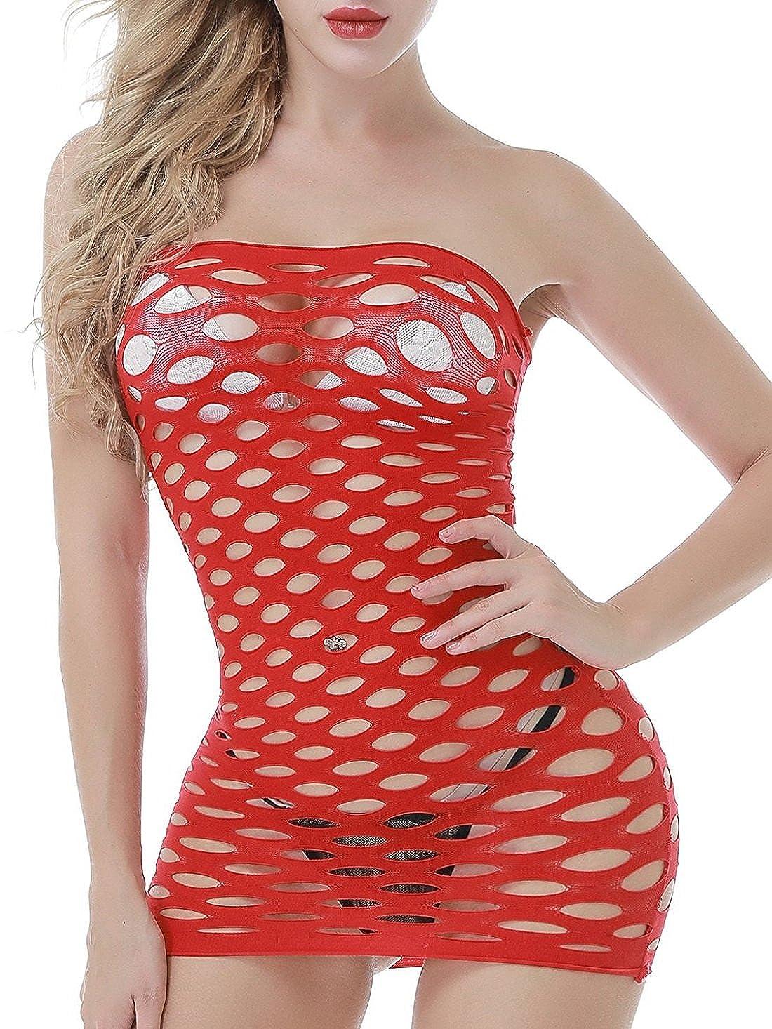 EVAbaby Strapless Fishnet Mini-Dress Lingerie One Size Chemise Babydoll for Women