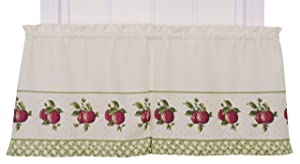 Ellis Curtain Kitchen Collection Apple Trellis 60 by 36-Inch Tailored Tier Curtains, Red