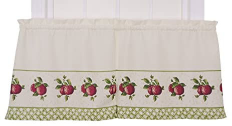 Ellis Curtain Kitchen Collection Apple Trellis 60 By 36 Inch Tailored Tier  Curtains, Red