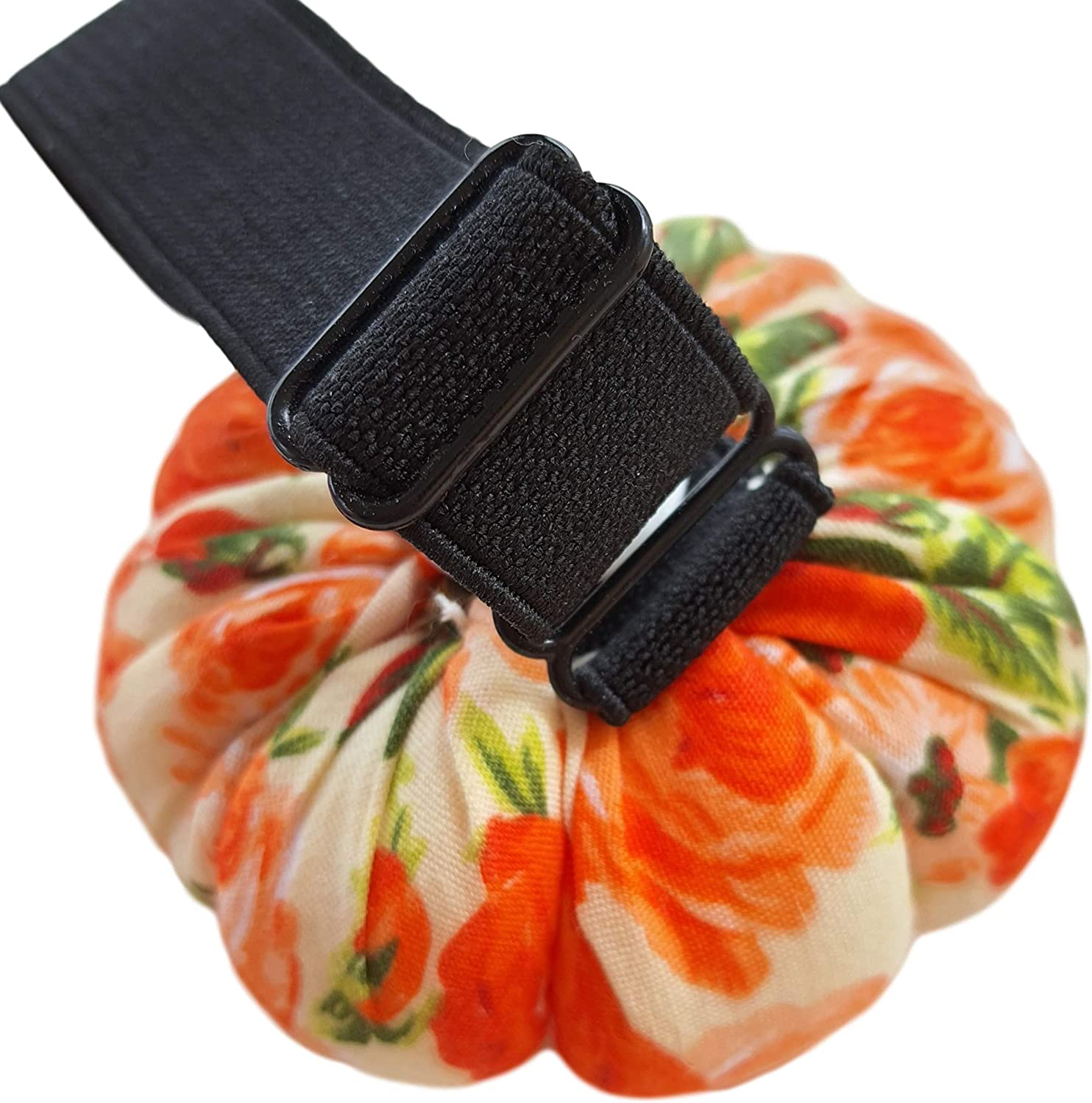 CUSHYSTORE Orange Floral Flower Wrist Pin Needle Cushion Pincushion for Sewing with Adjustable Elastic Strap Sewer Gift