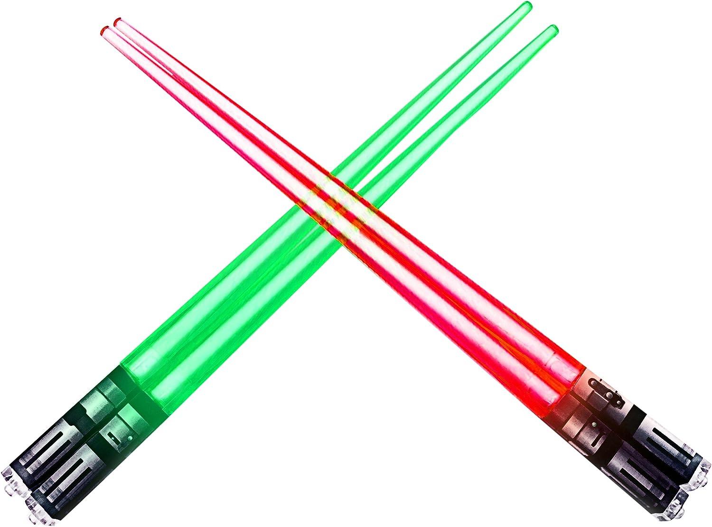 ChopSabers Lightsaber Led Light Up Chopsticks, Red/Green, Pair of 2