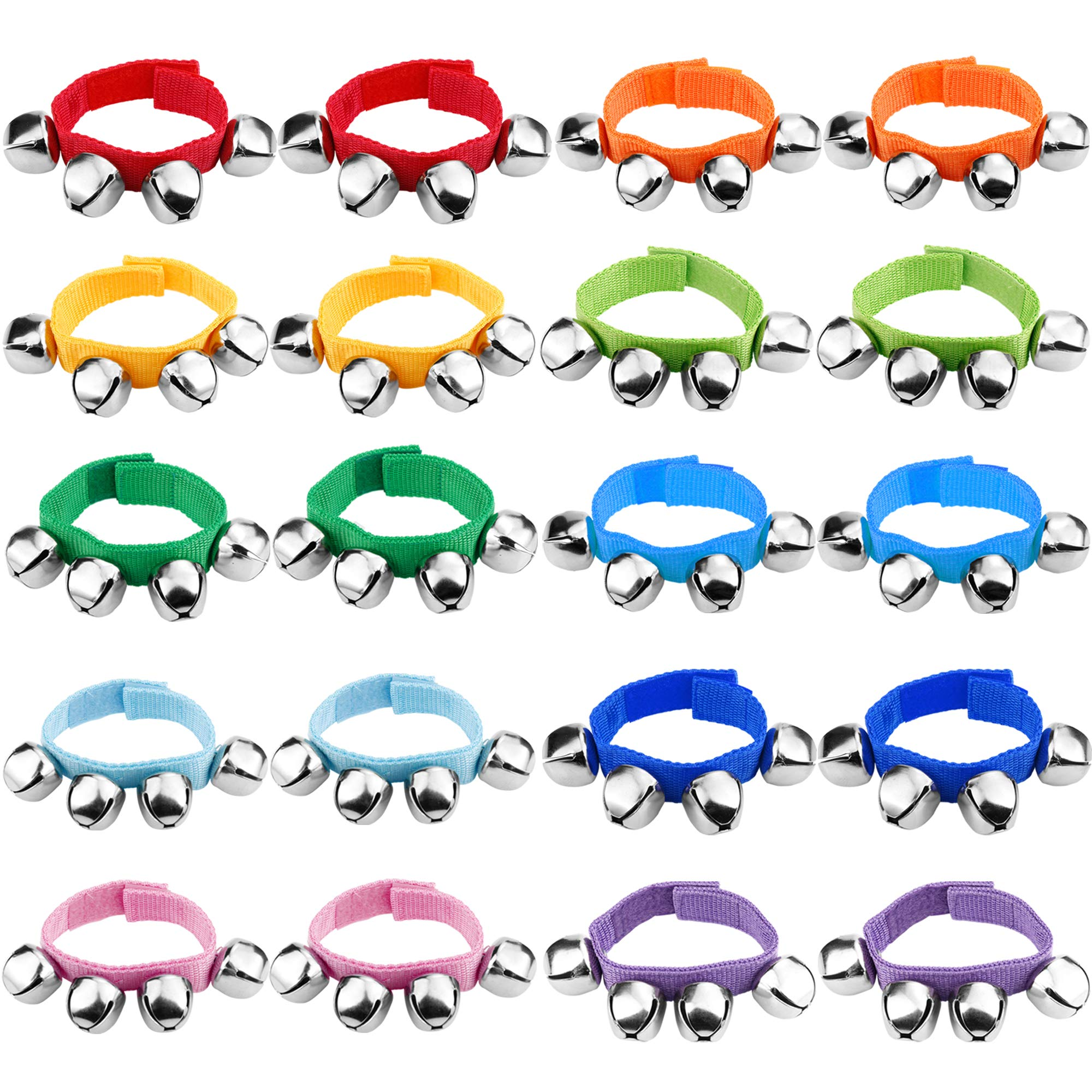 Augshy 20 Pcs Wrist Band Jingle Bells Musical Rhythm Toys,10 Colors,Musical Instruments for School by Augshy