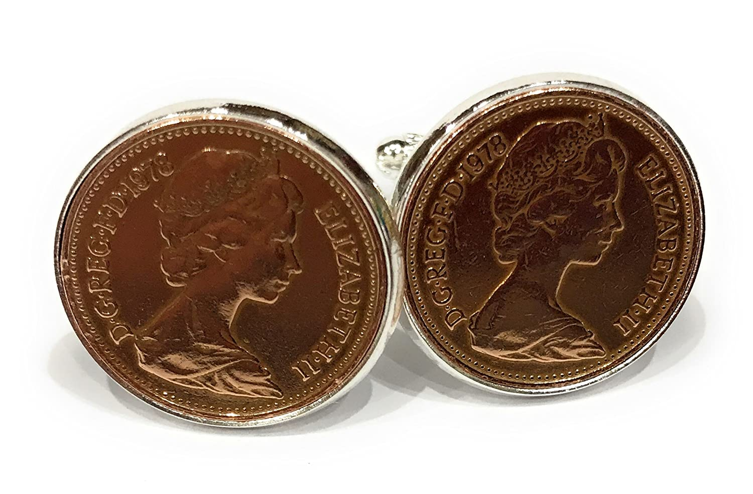 1978 40th Birthday/Anniversary 1 pence coin cufflinks - One pence cufflinks from 1978 for a 40th rstrading 1974onepencecuff