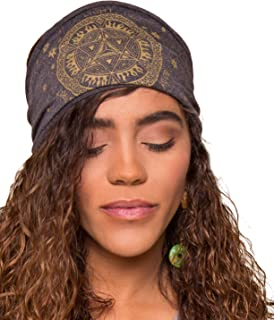 product image for Soul Flower Women's Merkaba Recycled Boho Headband, Dark Grey Organic Cotton Stretchy Wide Half Bandeau Accessory