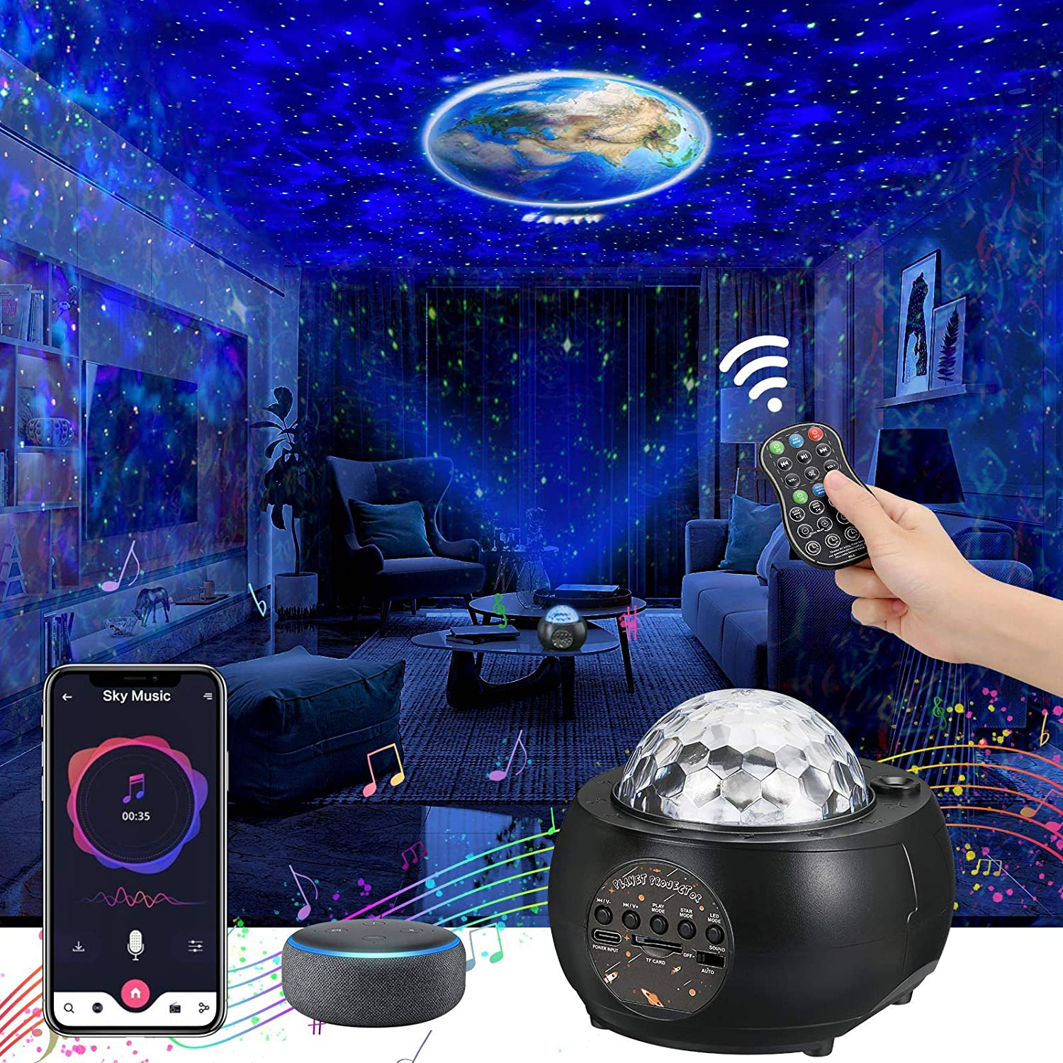 [2021 Upgraded] Galaxy Projector, Planet Lights for Livingroom, Star Ceiling Projector, Bluetooth Music Player Mutiple Solar System Projector for Kids Adult Festival Party & Holiday, Home Planetarium