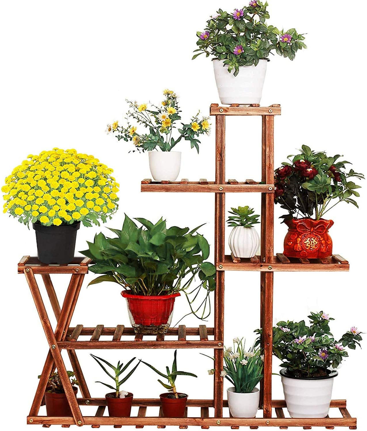 Wooden Plant Stand Shelf, 5 Tier Multi-Shelvings Flower Pot Holder Plant Shelf Display Storage Rack Shelving Unit for Plants Displaying Living Room Patio Garden Balcony Outdoor Indoor Corner