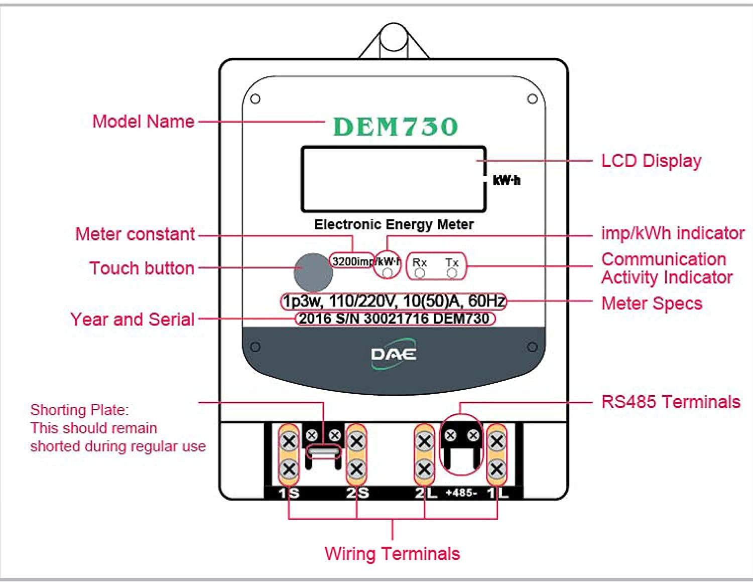 Dae Dem730p Electric Kwh Submeter Rs485 1p3w 2 Hot Wire 1 Single Phase Meter Wiring Diagram Neutral 120 240v 50a Internal Ct