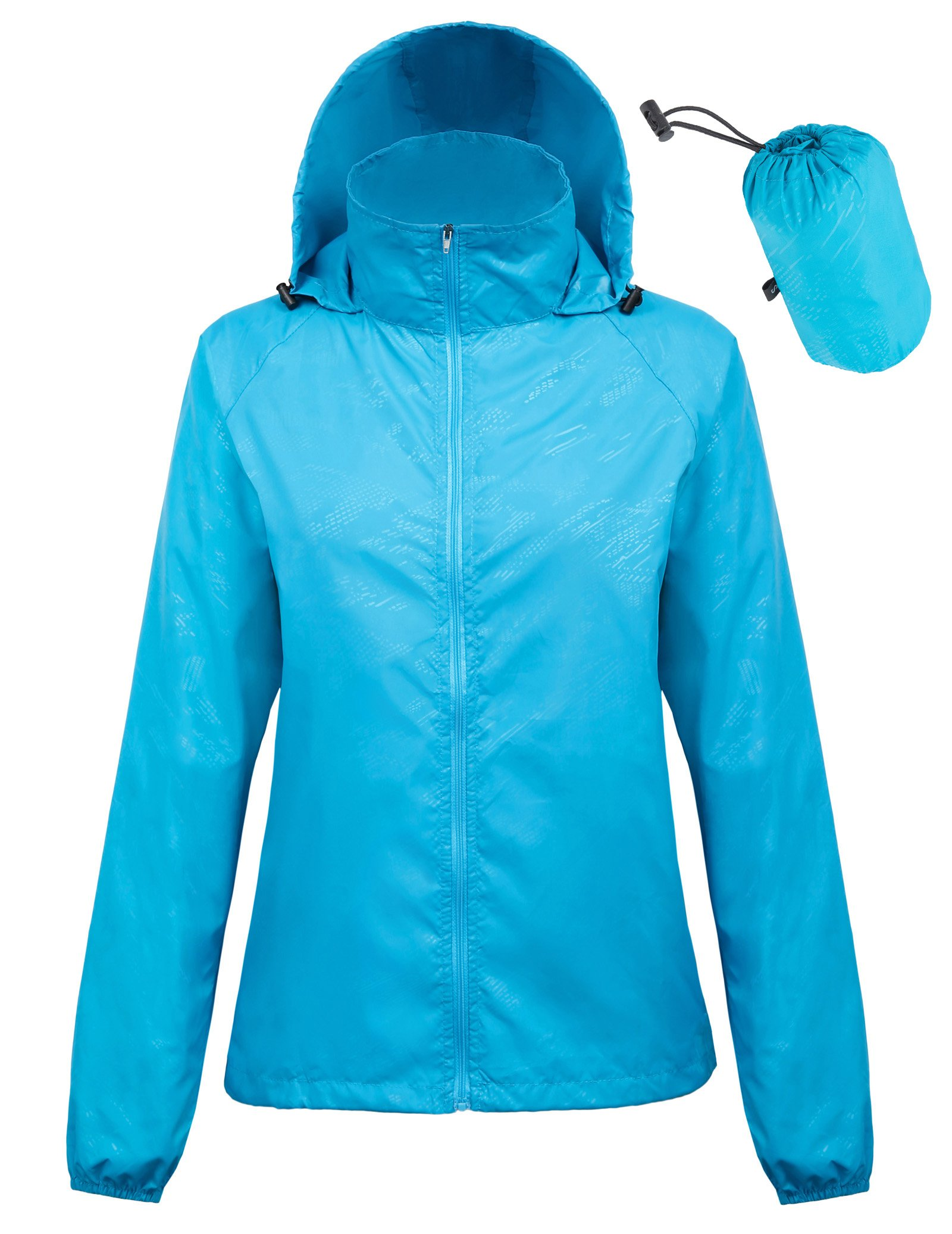 Kate Kasin Quick Dry Cycling Windbreaker Jacket Lightweight Hoodie (M,Blue1001)