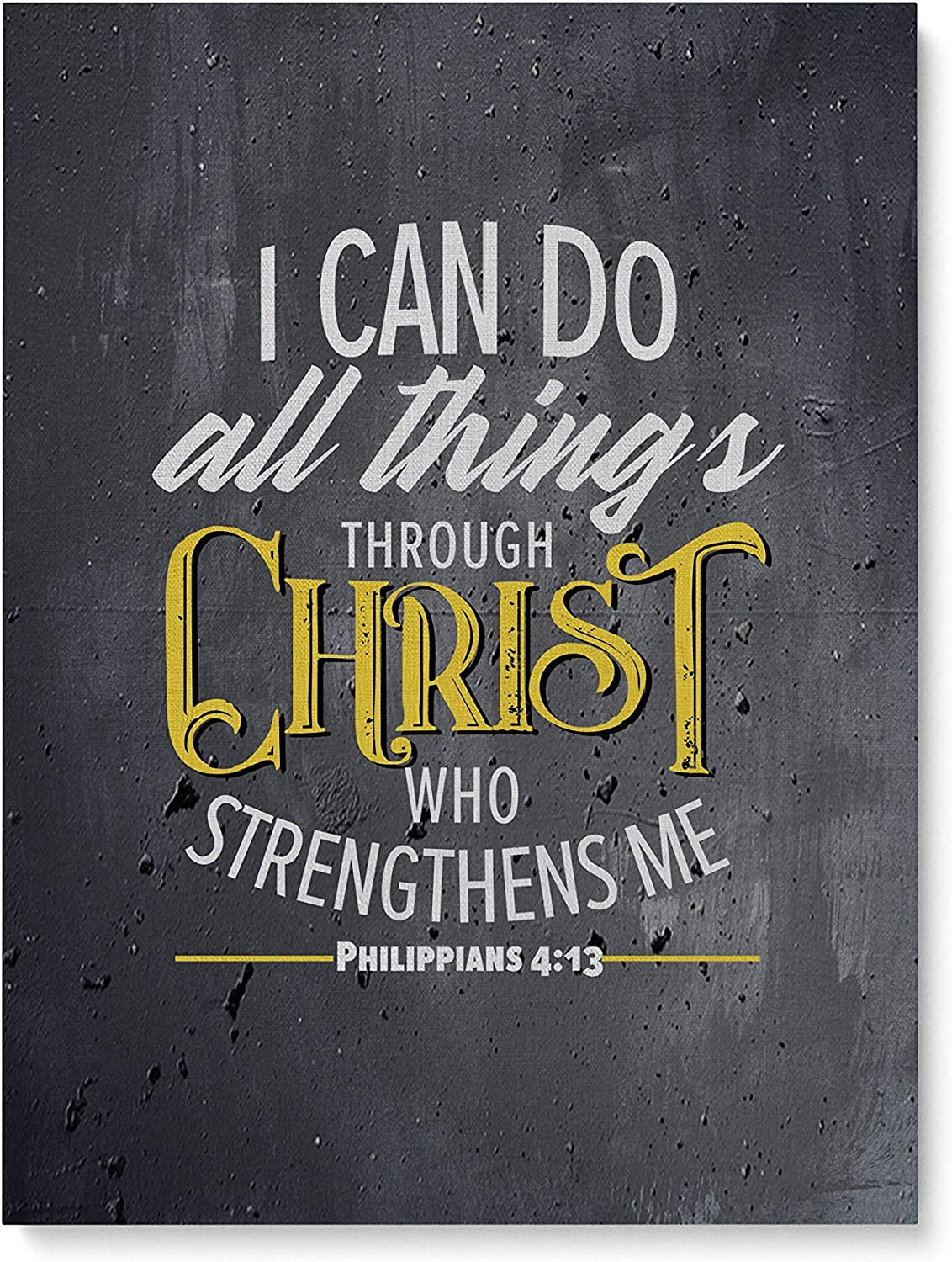 """Amazon.com: Bible Verse Canvas Wall Art – Philippians 4 13 – I Can Do All  Things Through Christ Who Strengthens Me (12""""x16""""): Posters & Prints"""