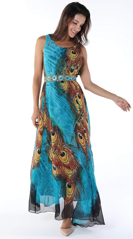 a5f8750180fe OMONSIM Women's Peacock Printed Bohemian Sleeveless Maxi Dress with Belt at  Amazon Women's Clothing store: