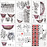 6 Large Sheets Joker Tattoos Suicide Squad Harley Quinn Included 100+ Pcs for Halloween Costume Accessories and Parties