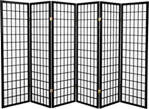 Oriental Furniture 5 ft. Tall Window Pane Shoji Screen - Black - 6 Panels