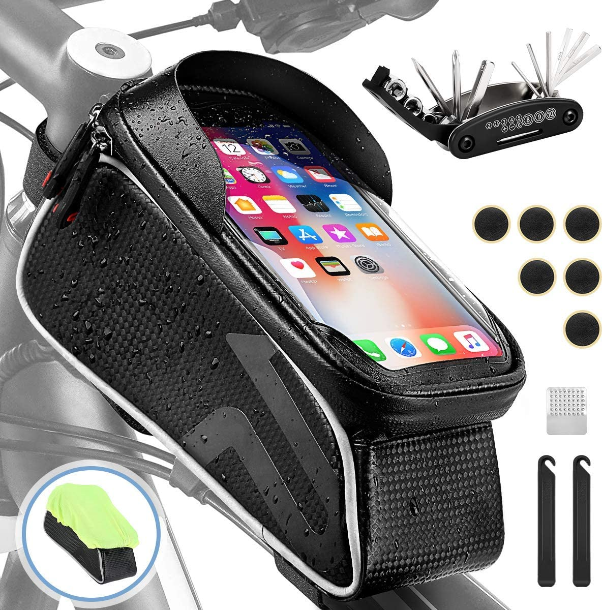 AGPTEK Waterproof Bike Frame Bag, Cycling Bag with Bicycle Repair Tool Kits, Bicycle Top Tube Cycling Bag with TPU Touch Screen Cell Phone Supports Face ID, for iPhone, Samsung, Below 6.5in