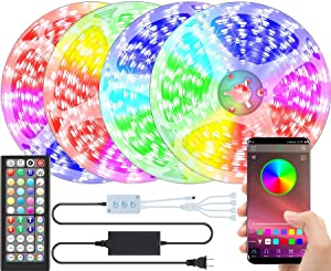 LED Lights for Bedroom 65.6ft/20m Led Strip Lights Music Sync, Bluetooth SMD 5050 RGB Bedroom Lights Bright Color Changing for TV/Decorations, 12V Smart Dimmable Gaming Led Tape Lights with Remote