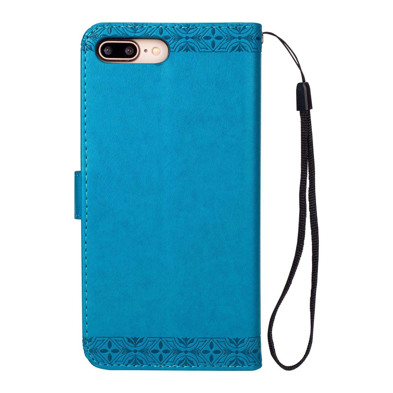 Carcasa Libro de Cuero Con Tapa y Cartera Azul BCIT iPhone 7 Plus Funda Carcasa PU Leather Con TPU Silicona Case Interna Suave,Soporte Plegable,Ranuras para Tarjetas y Billetera,Cierre Magn/ético para iPhone 7 Plus