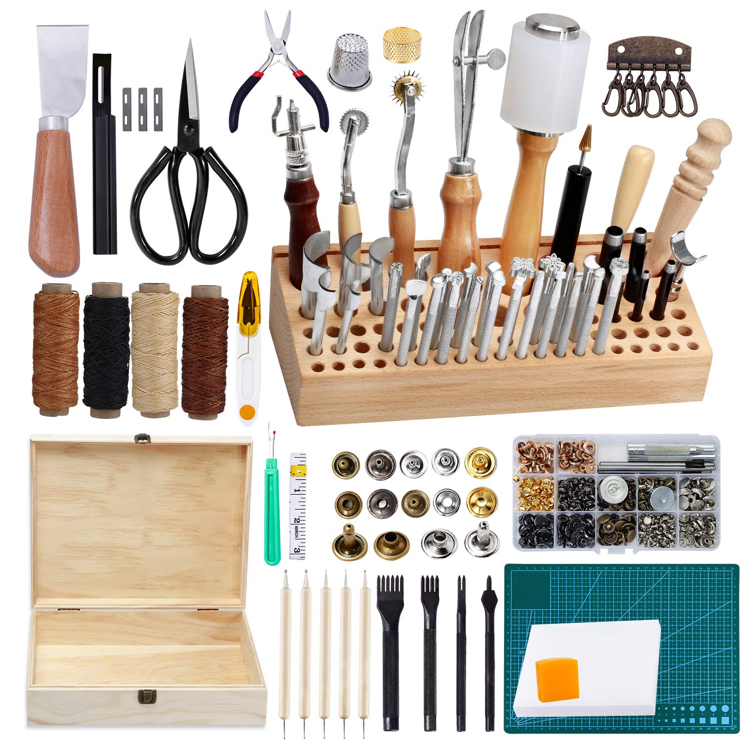 LEITIME 458 Piecs Leather Kits, Leather Working Tools, Leathercraft Tools and Supplies with Instruction, Tool Holder, Leather Stamps Set, Prong Punch, Hole Hollow Punch for Leather Craft Working
