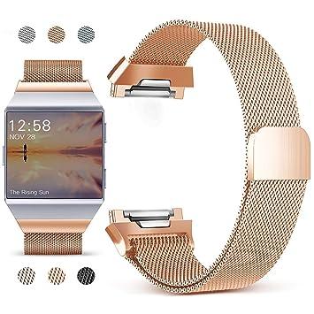 Mornex Correa para Fitbit Ionic, Pulsera Milanese Acero Inoxidable Metal Reemplazo Reloj Banda Adjustable Deporte para Fitbit Ionic, L-Oro Rosa: Amazon.es: ...
